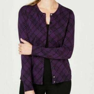 Karen Scott L Purple Plaid Strokes Sweater 9BI45